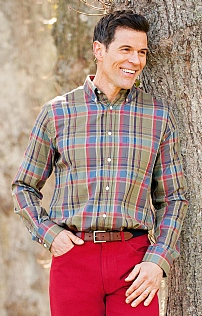 Mens Plaid Cotton Shirt