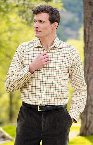 Men's Cotton & Wool Tattersall Shirt