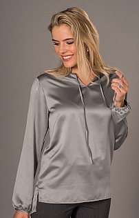 Satin Effect Tie Neck Blouse