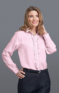 Long Sleeve Ruffle Silky Blouse