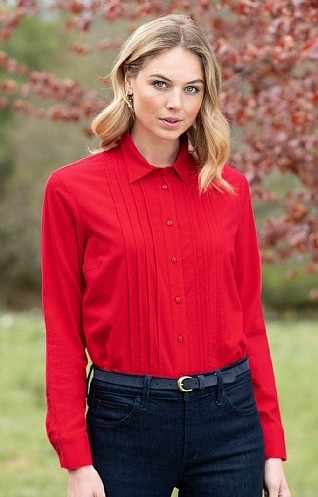Pleated Front Pure Cotton Blouse
