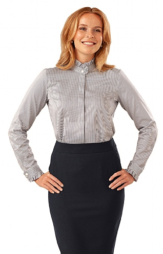 Pinstripe/Frill Pearl Button Blouse