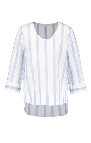 Gerry Weber Fluted Sleeve Stripe Linen Blouse
