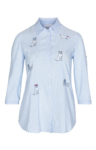 Just White Striped Dog Pattern Overshirt