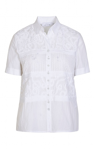 Just White Ruched Short Sleeve Blouse