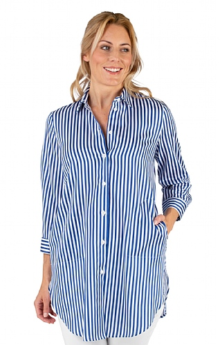 Just White Long Stripe Shirt