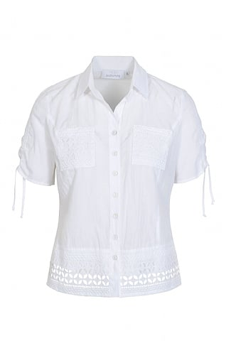 Just White Short Sleeve Lace Pocket Shirt