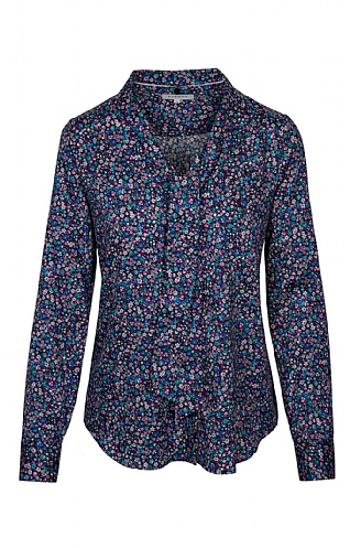 Eterna Mini Floral Tie Neck Shirt