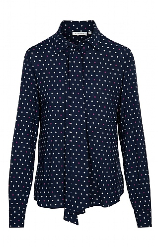 Eterna Spot Tie Neck Blouse