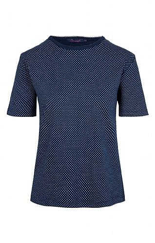 House Of Bruar Ladies Spot T-Shirt - Navy Blue