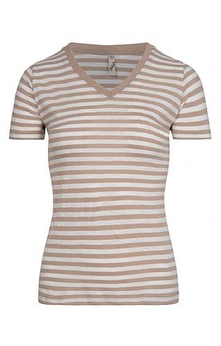 House Of Bruar Ladies Stripe V-Neck Short Sleeved T-Shirt
