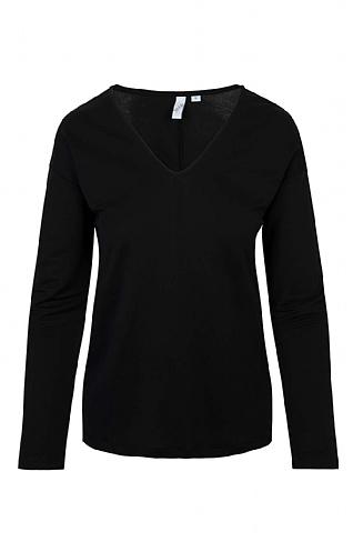 House Of Bruar Ladies V-Neck T-Shirt - Black