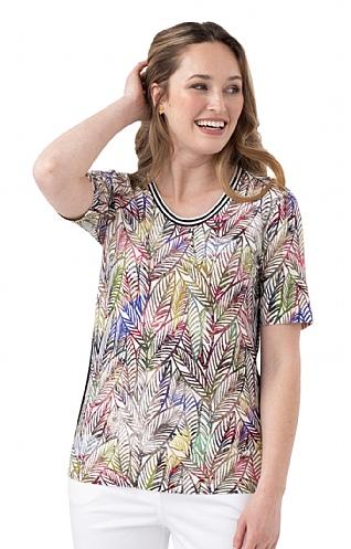 House Of Bruar Ladies Short Sleeved Crew Print T-Shirt