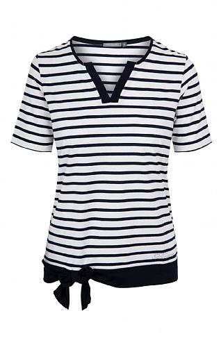 House Of Bruar Ladies Tie Stripe Notch T-Shirt - Navy Blue