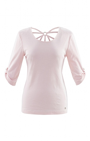 Ladies Marble Lace Back T-Shirt - White