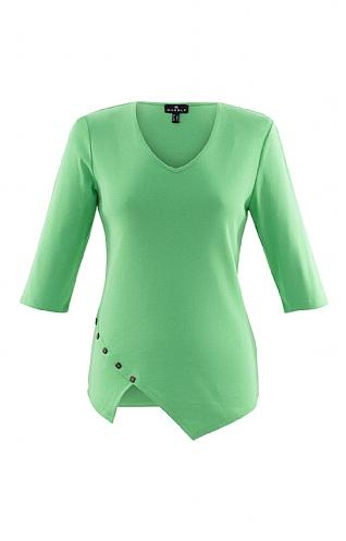 Ladies Marble Button Trim V Neck T-Shirt - Green