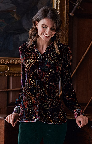 Ladies Velvet Print Blouse