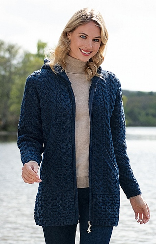Aran Zip Hooded Coat