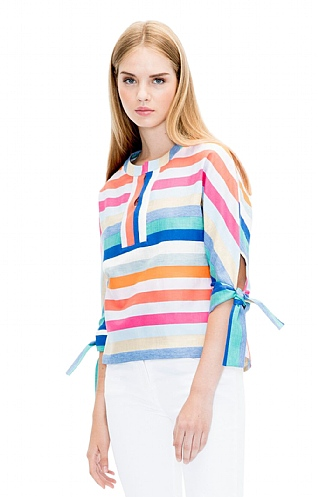 Vilagallo Multi Stripe Linen Top
