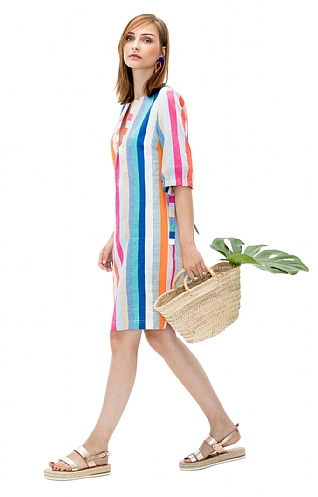 Vilagallo Multi Stripe Linen Tunic