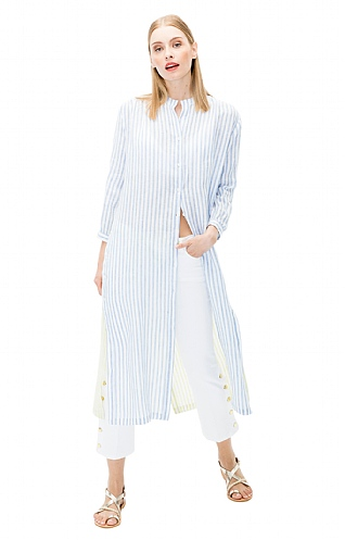 Vilagallo Two Colour Linen Stripe Dress