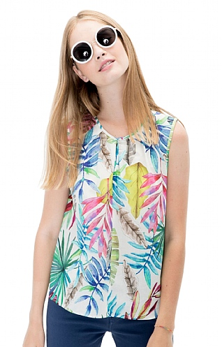 Vilagallo Sleeveless Bamboo Print Top