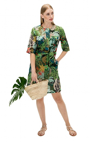 Vilagallo Jungle Print Tie Dress