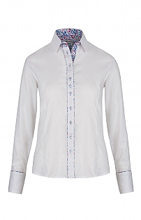Grenouille Floral Trim Long Sleeved Oxford Shirt