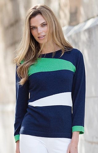 Marble Asymmetric Stripe Sweater