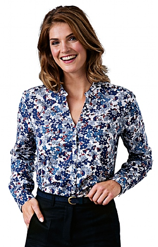 Floral Notch Collar Shirt