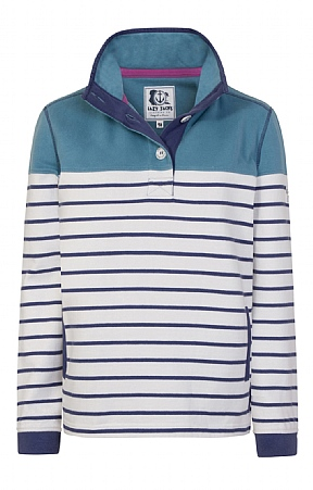 Lazy Jacks Button Neck Stripe Sweatshirt