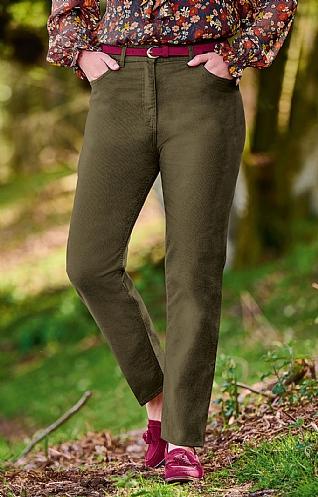 House of Bruar Ladies Moleskin Jeans - Olive