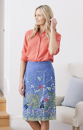 Lily & Me Border Print Fitted Skirt