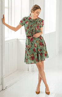 Butterfly Collar Silk Dress