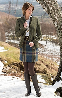 Ladies Straight Short Tweed Skirt