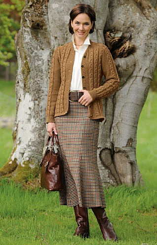 Plaid Fluted Skirt