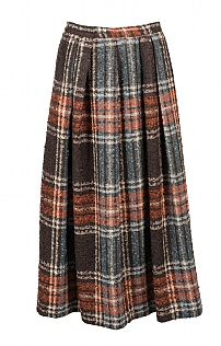 Soft Pleat Bouclé Skirt