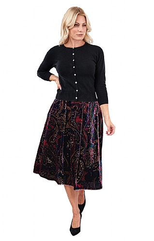 Printed Velvet Box Pleat Skirt