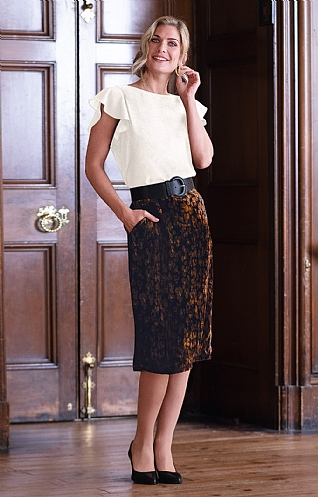Printed Velvet Pencil Skirt