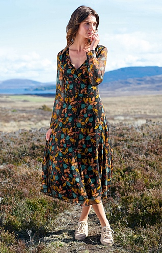 Pure Silk Long Button Floral Dress