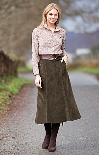 Long Cord Fluted Skirt