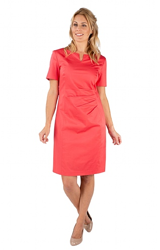 Cotton Ruched Short Sleeve Dress