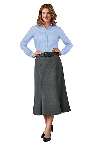 Long Fluted Wool Skirt