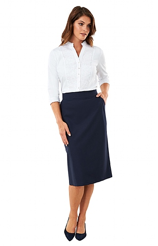 Wool Blend Pocket Pencil Skirt