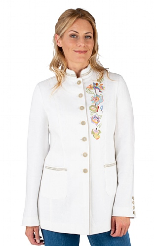 Ladies Embroidered 3/4 Length Linen Jacket