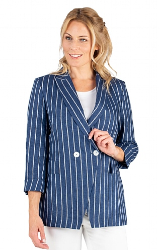 Striped Double Breasted Linen Jacket