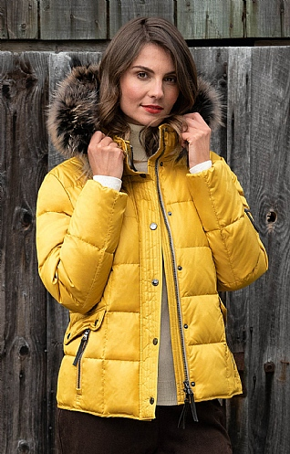 Fox Fur Trim Hood Jacket