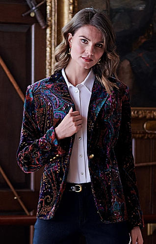 Ladies Velvet Print Single Breasted Jacket