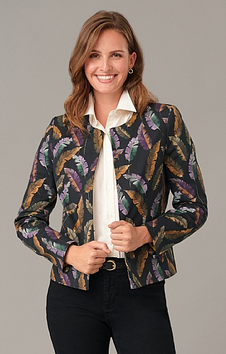 Ladies Contemporary Printed Crew Neck Jacket