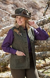 Ladies Harris Tweed Shooting Waistcoat